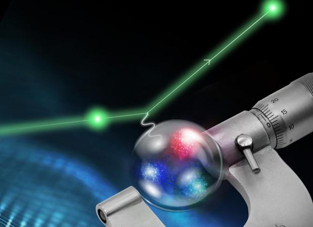 Los protones se pueden medir haciendo rebotar electroenes contra ellos, tal como se representa en la imagen