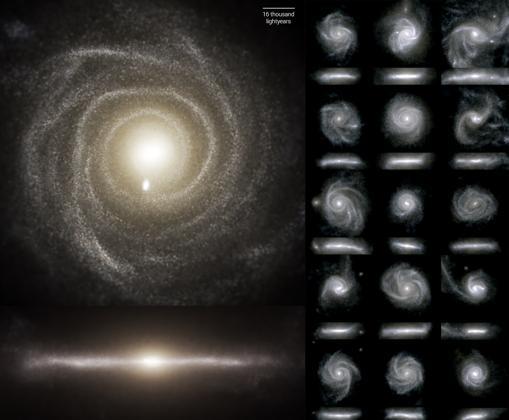 Varias simulaciones de galaxias espirales. El modelo empleado en estos trabajos, TNG50, ha arrojado nueva luz sobre el proceso de formación de los discos galácticos