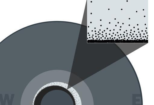 Una nevada de copos de hierro, que ocurre en el núcleo externo, se apila sobre el núcleo interno