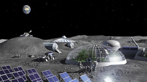 Representación de una base lunar autónoma