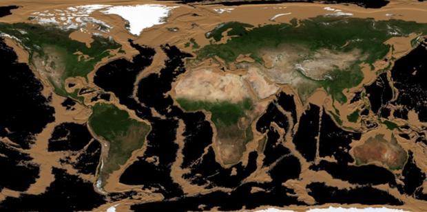 Así quedaría la Tierra si se drenaran todos los océanos