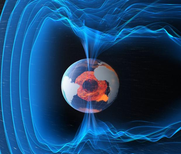 Representación del campo magnético (en azul) y del núcleo (en naranja) de la Tierra