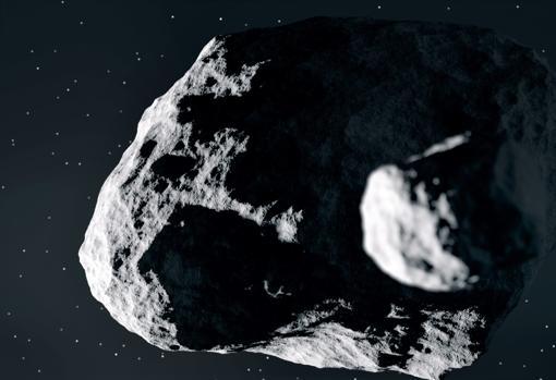 Recreación del asteroide binario Didymos junto a su pequeña luna, Didymos A
