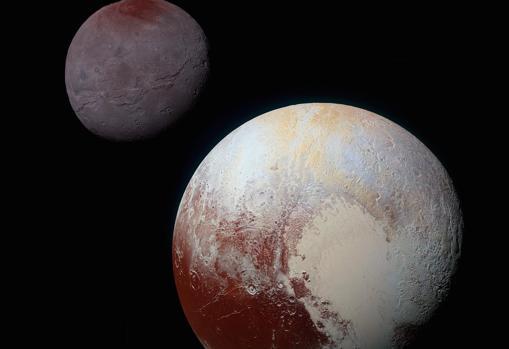 Plutón y Caronte, a escala y a la distancia a la que realmente se encuentran