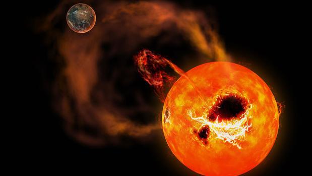 Impresión artística del efecto dramático que podría tener una súper llamarada sobre una estrella enana roja sobre un exoplaneta similar a la Tierra que orbita alrededor de ella
