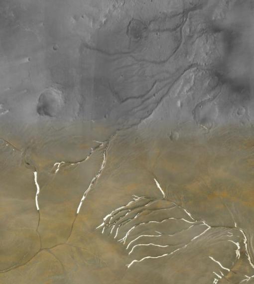 Collage que muestra los valles Maumee de Marte (mitad superior) superpuestos con canales en la isla Devon en Nunavut (mitad inferior). La forma de los canales, así como la red general, parece casi idéntica.