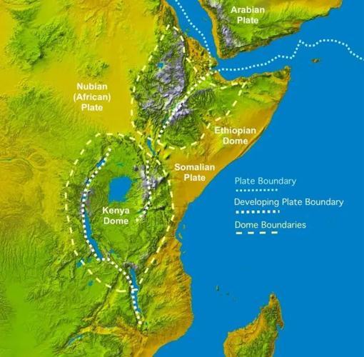 """La imagen muestra la configuración geológica de las placas en Africa. El nuevo océano se formará en la bifurcación del rift en forma de """"Y""""."""