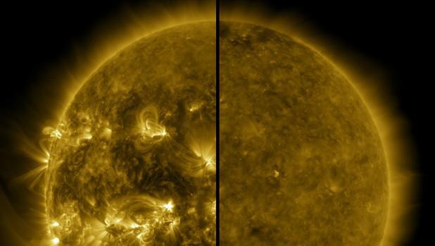 Esta imagen dividida muestra la diferencia entre un Sol activo durante el máximo solar y un Sol tranquilo durante el mínimo solar