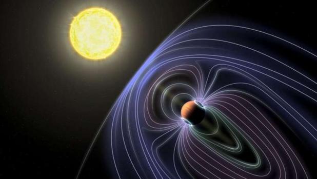 La ilustración muestra el planeta del tipo Júpiter caliente del que parecen proceder las señales de radio, en el sistema Tau Boötes