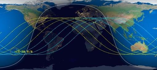 Áreas en las que podría caer el cohete. Las líneas ondulantes son las posibles trayectorias de los restos, si bien los astrónomos afirman que lo más probable es que caigan en el océano el próximo 10 de mayo