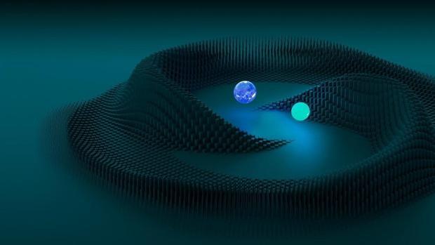 La ilustración muestra cómo dos estrellas de neutrones se orbitan mutuamente antes de colisionar