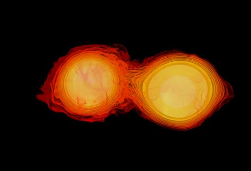 The image shows the collision between two neutron stars
