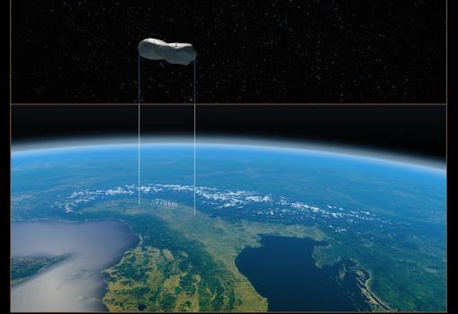 Esta imagen proporciona una comparación del tamaño del asteroide Kleopatra con el norte de Italia.