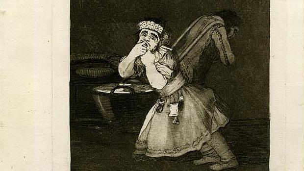 «El de la rollona», uno de los Caprichos de Goya. Aguafuerte y aguatinta bruñida