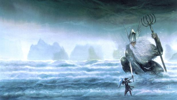 Ulmo, Señor de las Aguas. Ilustración de John Howe
