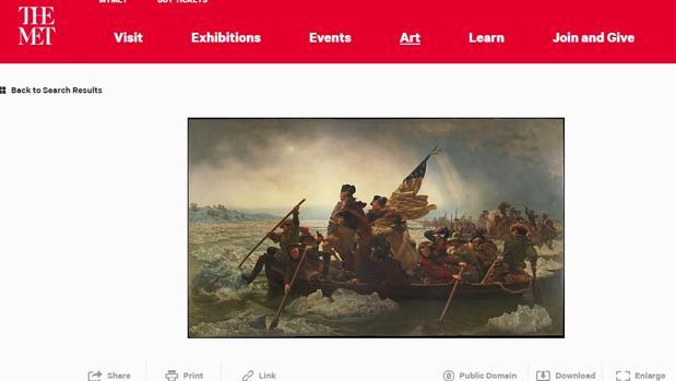 El óleo «Washington Crossing the Delaware», de Emmanuel Gottlieb Leutze, disponible para uso libre