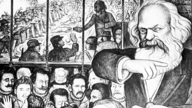 Detalle del mural de Diego Rivera con Marx y los mártires de Haymarket
