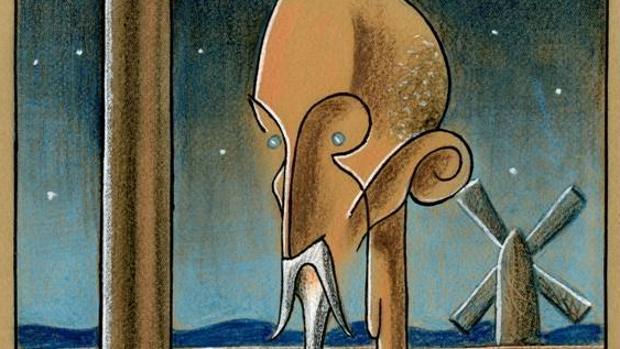 Detalle del dibujo del «Quijote», que un joven Antonio Mingote presentó en 1936 a un concurso de portadas de ABC
