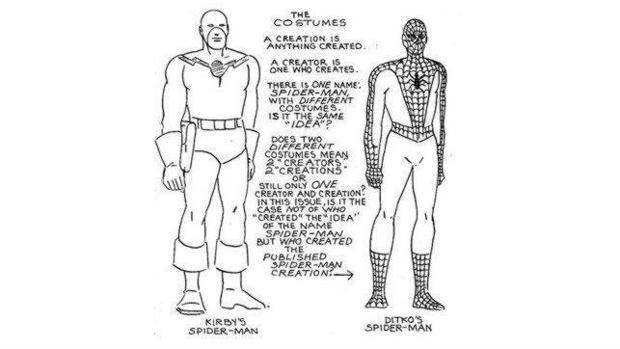 El boceto de Spiderman de Kirby, junto al de Ditkos, en 1962