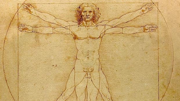 «El hombre de Vitruvio», de Leonardo. Detalle