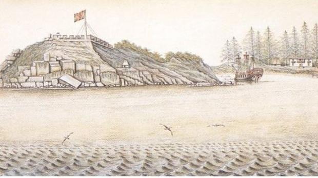 El fuerte de San Miguel en la isla de Nutka (actual oeste de Canadá), erigido en 1789. Acuarela de Sigismund Bacstrum sobre un boceto de 1793