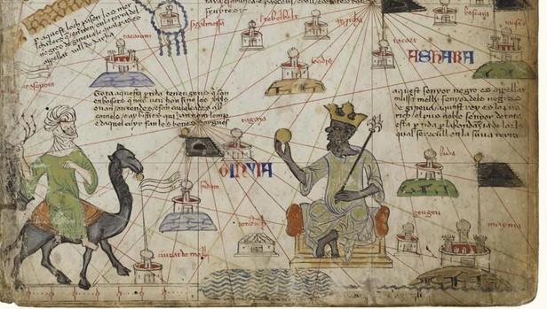 Mapa del Atlas Catalán dedicado a Mansa Munsa