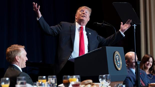 Donald Trump, en la celebración del Desayuno de Oración Nacional, el jueves en Washington