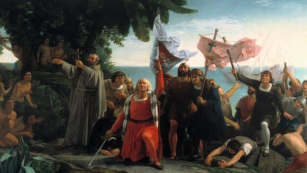 Colón llega a América, cuadro de Dióscoro Puebla de 1862