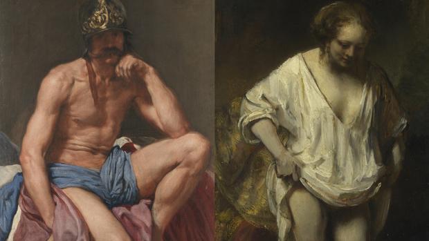 A la izquierda, «Marte», de Velázquez (Museo del Prado). A la derecha, «Mujer bañándose en un arroyo», de Rembrandt (National Gallery, Londres). Detalles