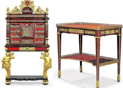 Un bargueño de Felipe V (a la izquierda) y una mesa de María Antonieta