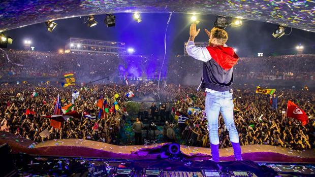 David Guetta, durante su actuación en el festival de música electrónica de baile en 2018