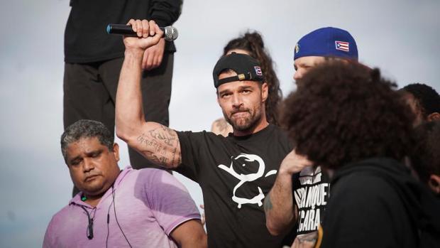 Ricky Martin, durante la manifestación en San Juan (Puerto Rico) el pasado miércoles 17 de julio en contra de Ricardo Rosselló