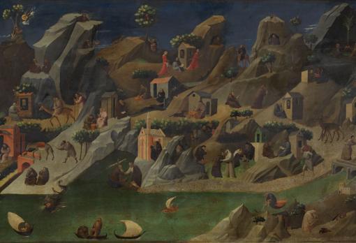 Fragmento de «Historias de los padres del desierto» (h. 1419 - 1420), de Fra Angelico