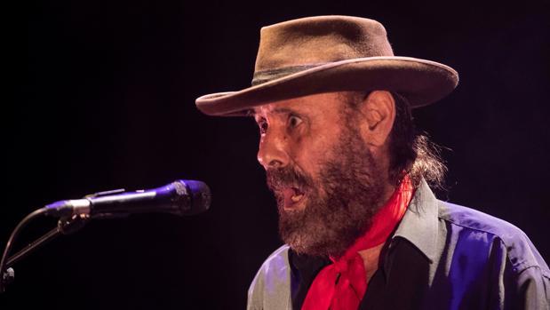 El cantaor de flamenco El Cabrero, durante el concierto de la LIX edición del Festival del Cante de las Minas