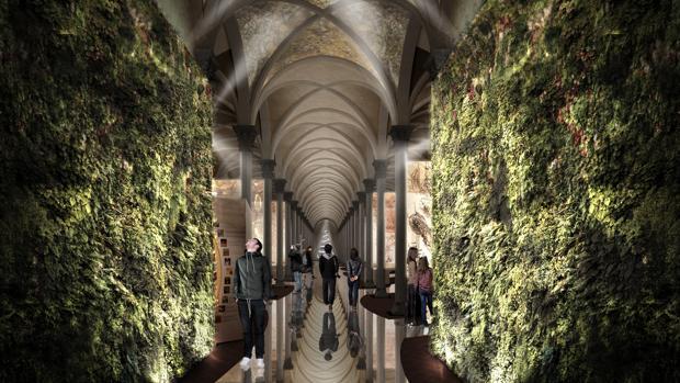 Interior de la exposición en el claustro de Santa Maria Novella