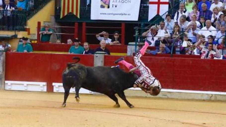 Mariano de la Viña sufre una terrible cornada en la Feria del Pilar