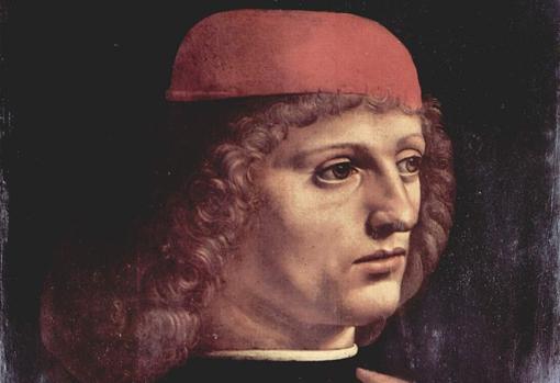 Detalle de «Retrato de músico», de Leonardo da Vinci
