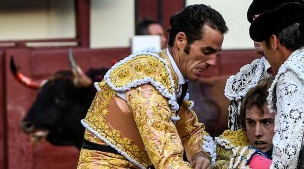 El gesto de dolor de Román mientras es trasladado por sus compañeros; al fondo, «Santanero I», con el pitón derecho embadurnado de sangre, la sangre de un valiente