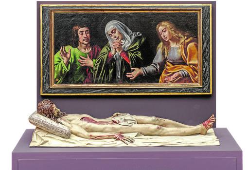 «Cristo yacente», de Gregorio Fernández, junto al cuadro «La Dolorosa, María Magdalena y San Juan», de Felipe Diricksen. Monasterio de La Encarnación, Madrid
