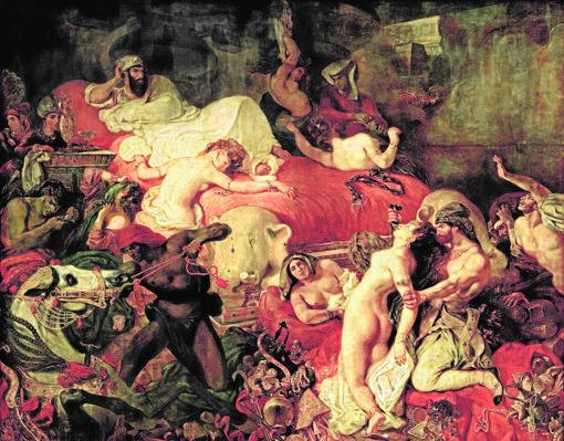 «La muerte de Sardanápalo», tela pintada en 1827 por Delacroix, que se exhibe en el Louvre