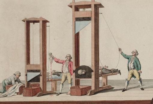 La guillotina de París, impresión holandesa del XVIII