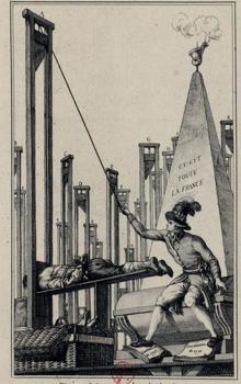 Robespierre guillotinando al verdugo después de haber guillotinado a todos los franceses. Grabado del siglo XIX