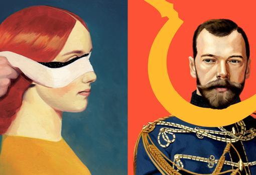 Detalle de algunos de los retratos del artista