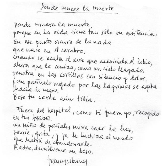 Dos poemas inéditos de Francisco Brines: «Donde muere la muerte» y «El  testigo»