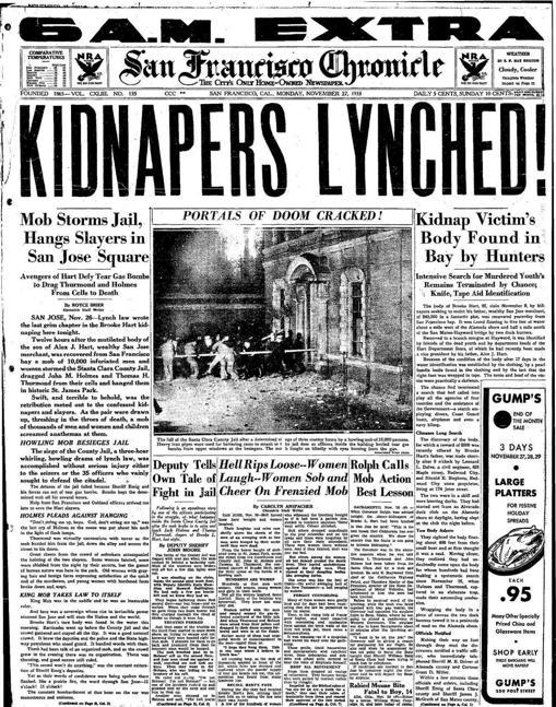 Portada del 'San Francisco Chronicle' con el linchamiento ocurrido en San José el 26 de noviembre de 1933