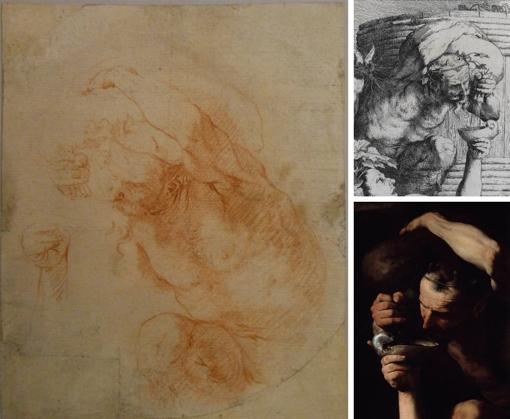 Drawing: José de Ribera, Study of a faun carrying a wineskin, D-2089 RABASF / Print detail: José de Ribera, Silenus drunk.  1628. BNE / Detail of painting: José de Ribera, Sileno intoxicated.  Capodimonte Museum, Naples.