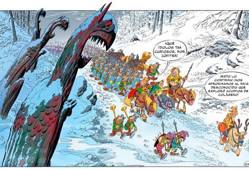 Una de las viñetas del nuevo álbum de Astérix y Obélix