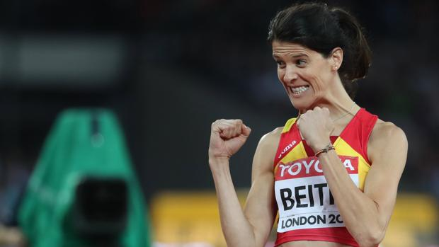 Ruth Beitia celebra su pase a la final