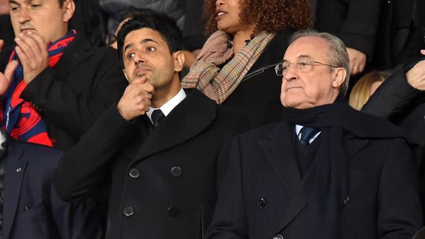 Nasser Al-Khelaifi y Florentino Pérez, en el palco del Parque de los Príncipes