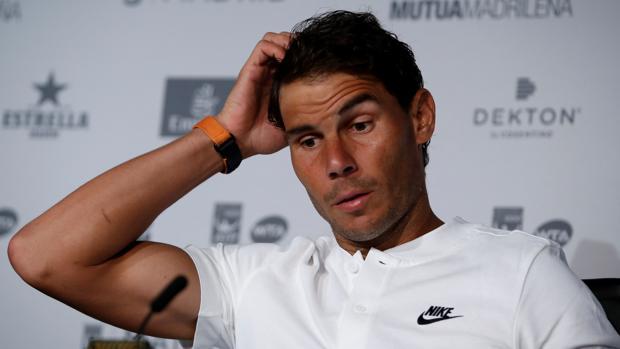 Rafa Nadal, durante la rueda de prensa en el Mutua Madrid Open